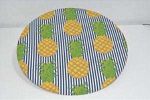 capa sousplat abacaxi e listras azul e brancas