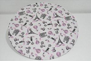 capa sousplat fundo branco desenhos paris preto e rosa