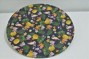 capa sousplat fundo preto flamingos frutas e flores
