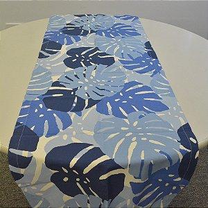 Caminho de mesa fundo branco com costela de adão azul