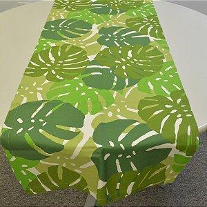 caminho de mesa fundo branco com costela de adão verde