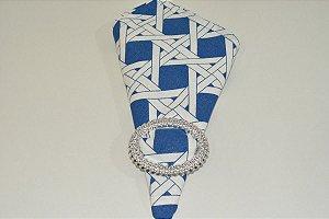 guardanapo mosaico azul  e branco