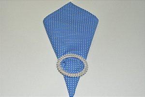 guardanapo de poá fundo azul com bolinhas brancas
