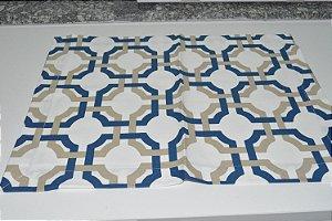 lugar americano mosaico azul e branco
