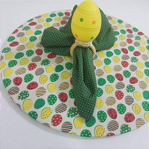 Kit com 3 peças páscoa guardanapo verde de póa, capa fundo creme com ovos e porta guardanapo ovo