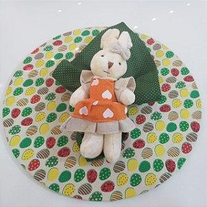 Kit com 3 peças Páscoa 1 capa creme 1 guardanapo verde póa 1porta guardanapo coelho grande