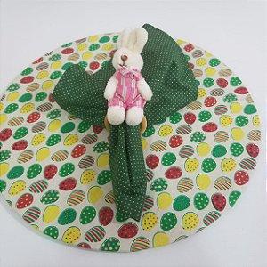 Kit com 3 peças Páscoa 1 capa creme 1 guardanapo verde póa 1 porta guardanapo coelho pequeno