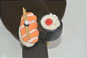 porta guardanapo Sushi arroz e salmão