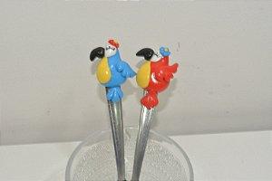Kit 2 Colher de chá pássaros azul e vermelho