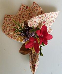 Porta guardanapo Flor Vermelha com Uvinhas