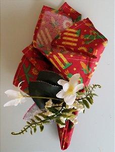 Porta guardanapo Flor Branca com bolinhas brancas