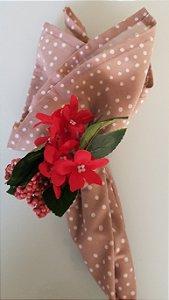 Porta Guardanapo Flor Vermelha com Frutinhas Vermelhas