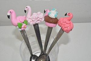 kit 4 colher de chá Flamingos