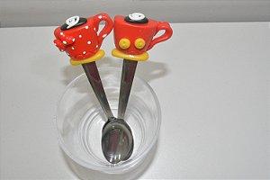 Kit 2 colheres de chá xícara Mickey e Minnie