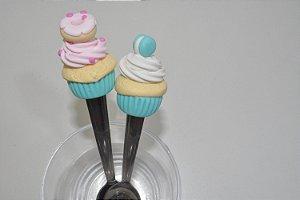 Kit 2 colher de chá de biscuit bolinhos cupcake