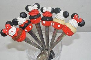 Kit 6 colher de chá Cupcakes Mickey e Minnie