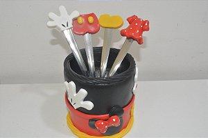 kit da Minnie e Mickey no potinho com 4 colheres de chá biscuit