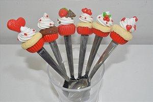 kit 6 colher de chá biscuit bolinhos vermelhos com corações