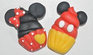 Kit 2 imãs bolinho Mickey e Minnie com bolinhas