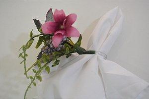 porta guardanapo flor roxinha com bolinhas roxas