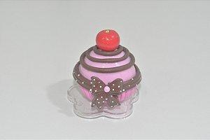 Enfeite de mesa bolinho rosa com cereja