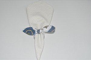 Porta Guardanapo de tecido fundo branco e azul com ancoras