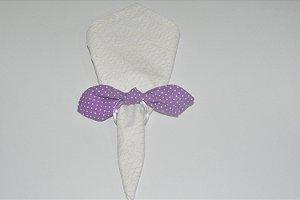 Porta Guardanapo de tecido fundo roxo com bolinhas brancas