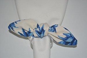 Porta Guardanapo tecido fundo branco com abacaxis azul