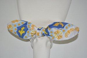 Porta Guardanapo tecido mosaico branco, azul e amarelo