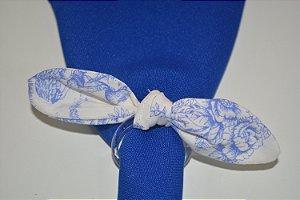 Porta Guardanapo tecido com flores em azul