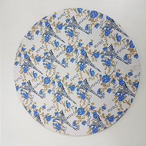 Capa de tecido fundo banco com Torre Eiffel  flores azuis