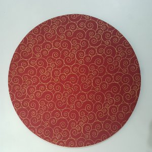 Capa de tecido natal Fundo Vermelho com detalhes em Dourado