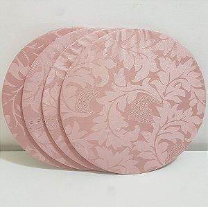 Kit 4 capas sousplat de seda rosa