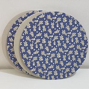 Kit 4 Capas sousplat fundo azul com bolinhas e raposa e capa fundo bege liso