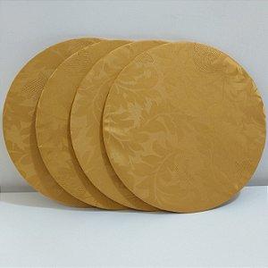 Kit 4 Capas sousplat de seda dourado
