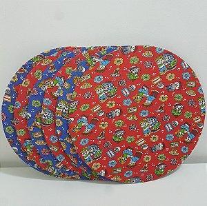 kit 6 Capas Sousplat festa junina fundo azul e capa fundo vermelho com casais dançando