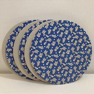 Kit 6 Capas sousplat fundo azul com bolinhas e raposa e capa fundo bege liso