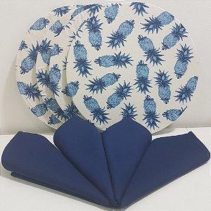 Kit 4 Capas fundo branco com abacaxis e 4 guardanapos azul liso