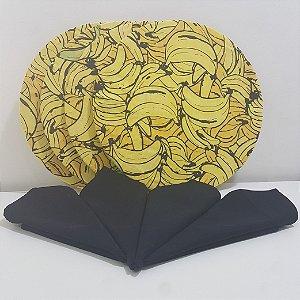 Kit 4 Capas fundo bananas e 4 guardanapos preto liso