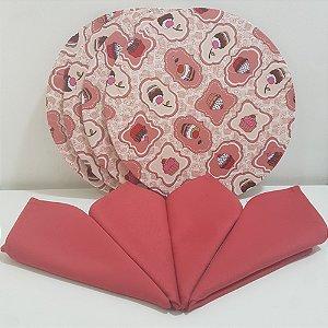 Kit 4 Capas fundo rosa com docinhos e 4 guardanapos rosa opaco