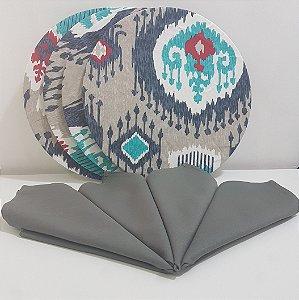 Kit 4 Capas fundo cinza mosaico e 4 guardanapos cinza liso
