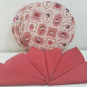 kit 6 Capas fundo rosa com docinhos e 6 Guardanapos rosa opaco