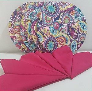 Kit 6 Capas mosaico colorido e 6 Guardanapos rosa escuro liso
