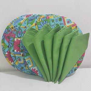 Kit 6 Capas com flores azul e rosa e 6 Guardanapos verde liso
