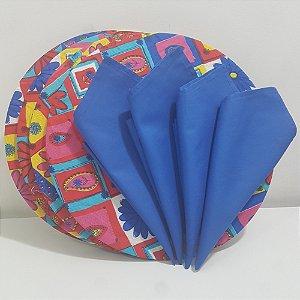 Kit 4 Capas com flores coloridas e 4 Guardanapos azul escuro liso