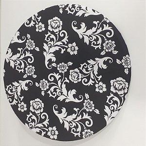 capa sousplat fundo preto decoração desenho flor branca
