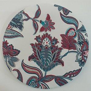 Capa de tecido flores abstratas vermelha e azul fundo banco