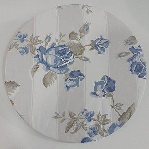 Capa para sousplat fundo faixas branco e bege com rosas azuis