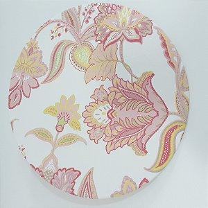 capa para sousplat flores abstratas rosa e amarelo fundo branco