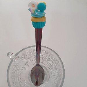 Colher de chá biscuit Bolinho azul com donuts  e bolachinhas